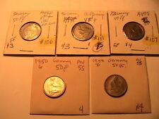 1949-1950 Lot of 5 GERMANY 50 Pfenning VF-Ch AU West German Fifty Pfenning Coins