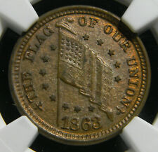 1863 Civil War Token, The Flag of Our Union, F-208/410 a MS 63 BN