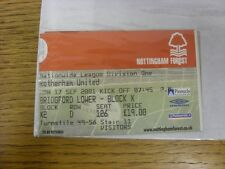 Nottingham Forest 17/09/2001 ticket: V Rotherham United visitantes []. las fallas