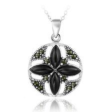 "925 Silver Onyx & Marcasite Round Flower Pendant, 18"""