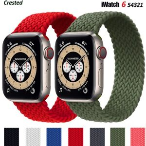 Nylon Braided Solo Loop Strap Band For Apple Watch Series 6 SE 5 4 32 42 40 44mm