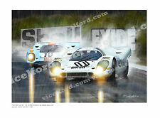 Porsche 917– Brands Hatch 1970 Pedro Rodriguez Vic Elford  Art Signed by VIC +