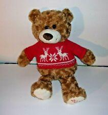 "Avon 2015 Brown Teddy Bear Red Sweater Reindeer Snowflakes Nordic Plush 17"""