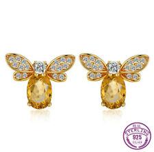 925 Silver Citrine Gemstone Queen of Bee Animal Ear Studs Earrings Wholesale