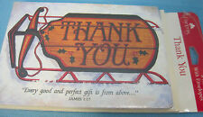 Thank You Cards Winder Holiday Snow Sleigh 8 Notes & Envelopes Blank Inside