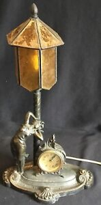 Antique Art Nouveau Table Lamp Figural Deco Lady with Clock Amber Glass Shade