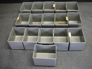 "Used Lot of 16 Stanley Vidmar BN-25-04 4"" x 3"" x 2 3/4"" Plastic Drawer Bins B"