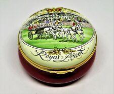 Crummles English Enamel Box - Royal Ascot Horse & Carriage - Queen Elizabeth Ii