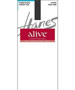 4 Pair Hanes Alive Full Support Sheer Knee Highs 0A446