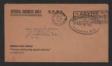 $Canada OHMS Official business 1931 cover Vancouver BC