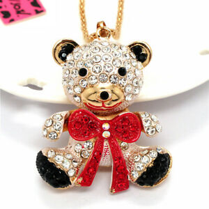 Red Rhinestone Lovely Bow Bear Baby Pendant Betsey Johnson Chain Necklace Gifts