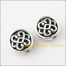 8Pcs Tibetan Silver Tone Plat rond chinois Knot Spacer Beads Charms 10.5 mm