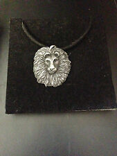 Lion Head Pewter Effect Animal Pendant On a Black Cord Necklace Handmade