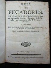 AÑO 1789. Guia de Pecadore LUIS DE GRANADA. MADRID. Führer der Sünder