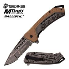 Spring-Assist Folding Pocket Knife Mtech Marines Usmc Gray Serrated Blade Tan