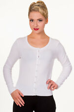 Women's White Getaway Plain Vintage Retro Rockabilly Cardigan By Banned Apparel