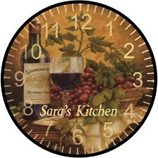 "9"" Personalized Grape Wine Wall Clock"