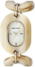 NEW ANNE KLEIN GOLD TONE,BEIGE HORN RESIN LINK BRACELET,MOP,WATCH AK/2674HNGB