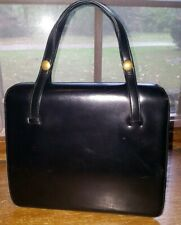 FRENCH vintage 50s Black hand Bag purse accordion interior Coblentz Grace Kelly