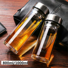 800/1000ML Double Walled Large Glass Water Bottle Travel Mug With Tea Infuser