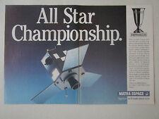 8/1989 PUB MATRA ESPACE ESA HIPPARCOS ASTROMETRY SATELLITE SPACE ORIGINAL AD