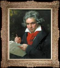 """24""""Hand-painted Old Master-Art Antique Oil Painting Musician Beethoven on canvas"""