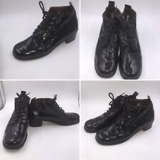 Jones The Bootmaker Size 39 6 Black Patent Leather Lace Up Ankle Victorian Boots