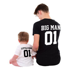 BIG MAN LITTLE MAN 01 MATCHING TSHIRTS Father Son Parent Kid Fathers Day Gift 65