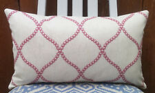 """EMBROIDERED Country Style Cushion Cover/12""""x20""""/Clarke&Clarke SAWLEY Fabric"""