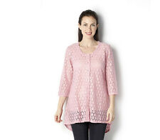 MICHELE HOPE Size 14-16 Dip Hem Crochet Sequin Lace Cardigan PINK