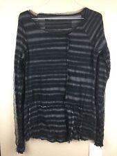 EUC Rundholz Black Label Long Sleeve Shirt Size Medium Black & Gray Striped Mesh
