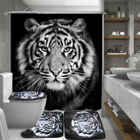 Tiger Black Printing Bathroom Shower Curtain Toilet Cover Mat Non-Slip Rug Set