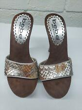 Bebe Womens Mules Size 5 Open Toe Slip On Brown Silver Slide Heels Size 35 EU