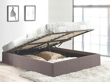Grey Fabric Upholstered Gas Lift Storage Bed Frame Base
