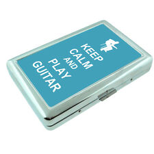 Metal Silver Cigarette Case Holder Box Keep Calm and Play Guitar Design-011