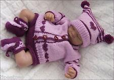 Baby Knitting Pattern DK 19 TO KNIT Girls or Reborn Dolls Cardigan Hat Booties