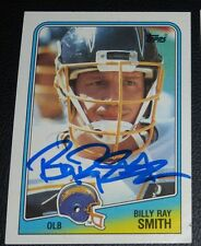 Billy Ray Smith Signed Chargers 1988 Topps Football Card #213 Autograph Arkansas