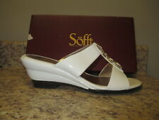 Sofft Ipanema Wedge Sandals 10 M White Patent New in Box