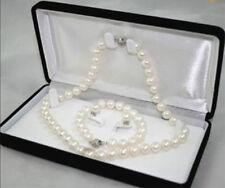 AA 6-7MM White Akoya Cultured Pearl Necklace Bracelet Earring Set