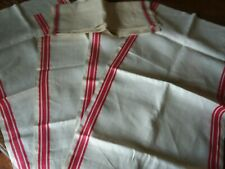 Vintage Linen Dish Towel Fabric - White with Red Strip Lot of 5- Unfinished