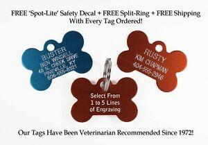 Bone Pet Dog ID Tags Custom Engraved Identification Tag W/ up to 5 Lines of Info