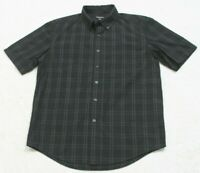 George Black Gray Striped Man Pocket Dress Shirt Short Sleeve Cotton Poly Medium