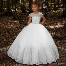 Lace Princess Flower Girl Dresses Ball Gown First Communion Dresses For Tulle