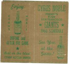1960 San Francisco Giants folding schedule, Cyrus Noble bourbon