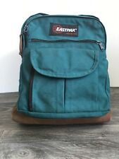 Eastpak Backpack Leather Bottom 90s Vtg Book Bag Green Student School USA EUC!
