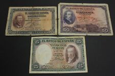 1926 - 1927 - 1931 SPAIN 25+25+ 50 PESETAS LOTE 3 BANKNOTE DIFERENTES DIFFERENTS