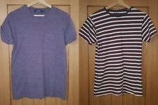 Mens T-Shirt Bundle x2 - size XS - Topman purple, Primark red/white striped