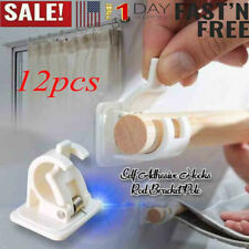 12Pcs Self Adhesive Hooks Curtain Rod Bracket Pole Drapery Hook Holders Curtains