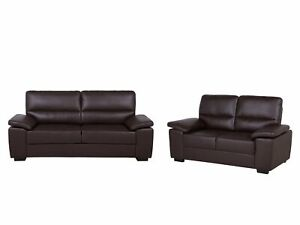 Traditional Living Room Sofa Set 3 Seater Loveseat Brown Faux Leather Vogar