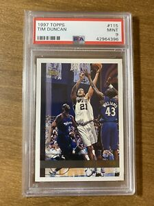 1997 Topps Tim Duncan Rookie Card RC #115 PSA 9 MINT INVEST SPURS HOF
